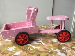 houten bakfiets roze